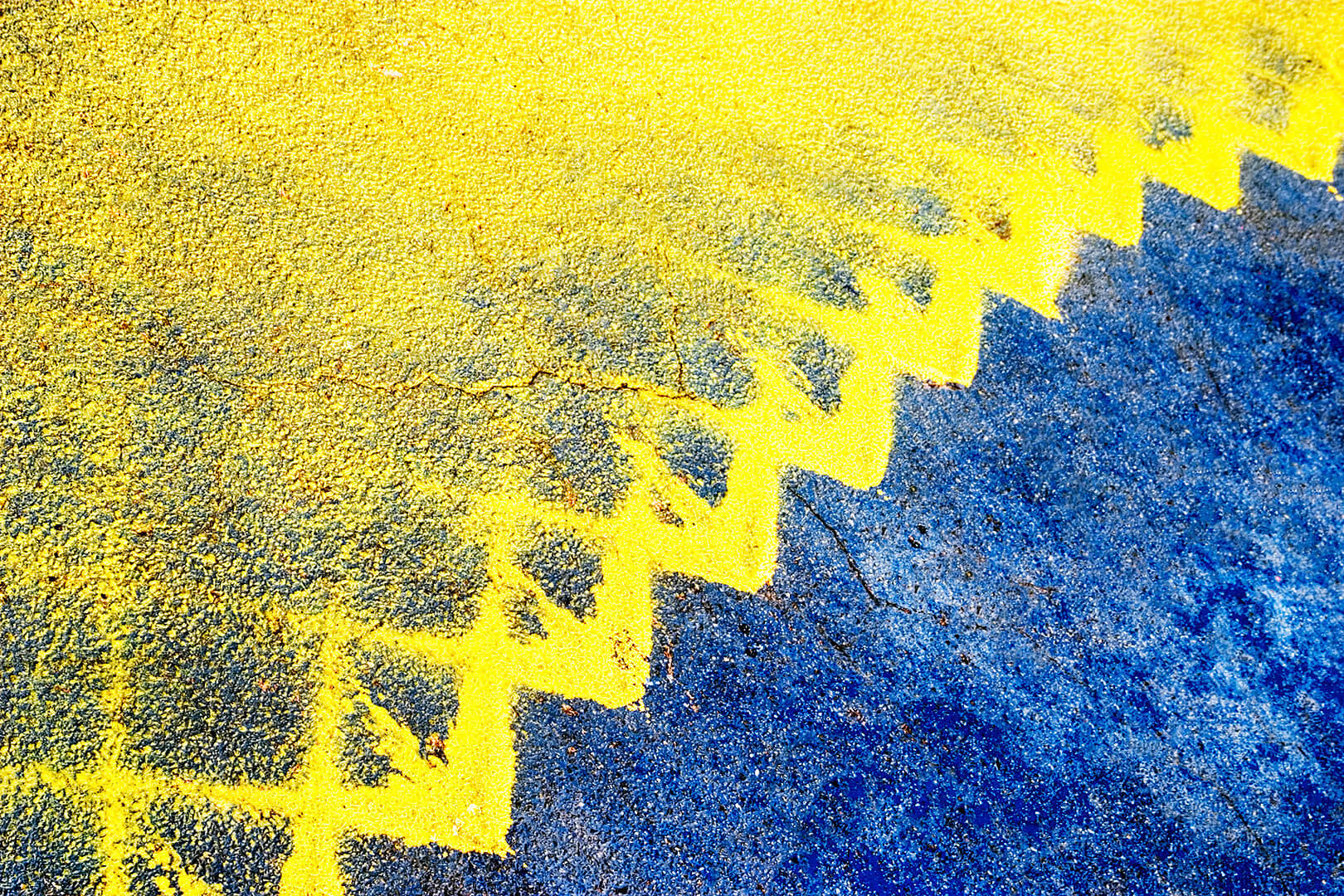 Yellow and Blue Street Markings