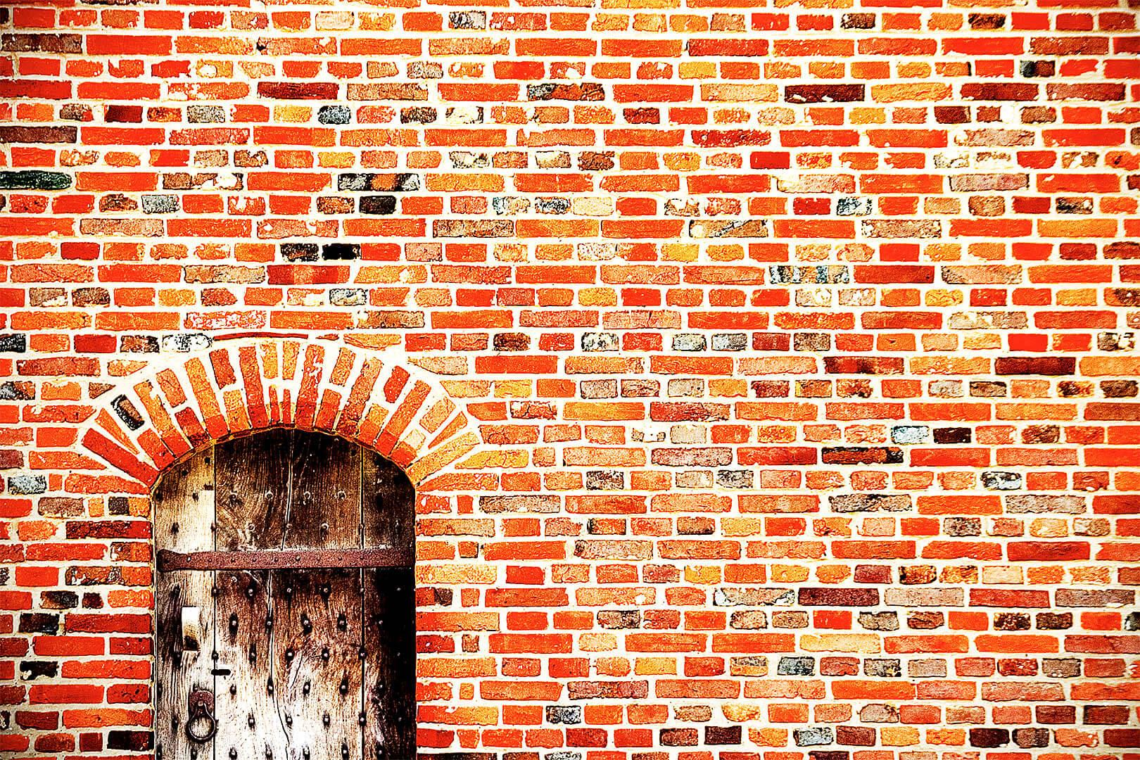 Brick Wall and Wooden Door