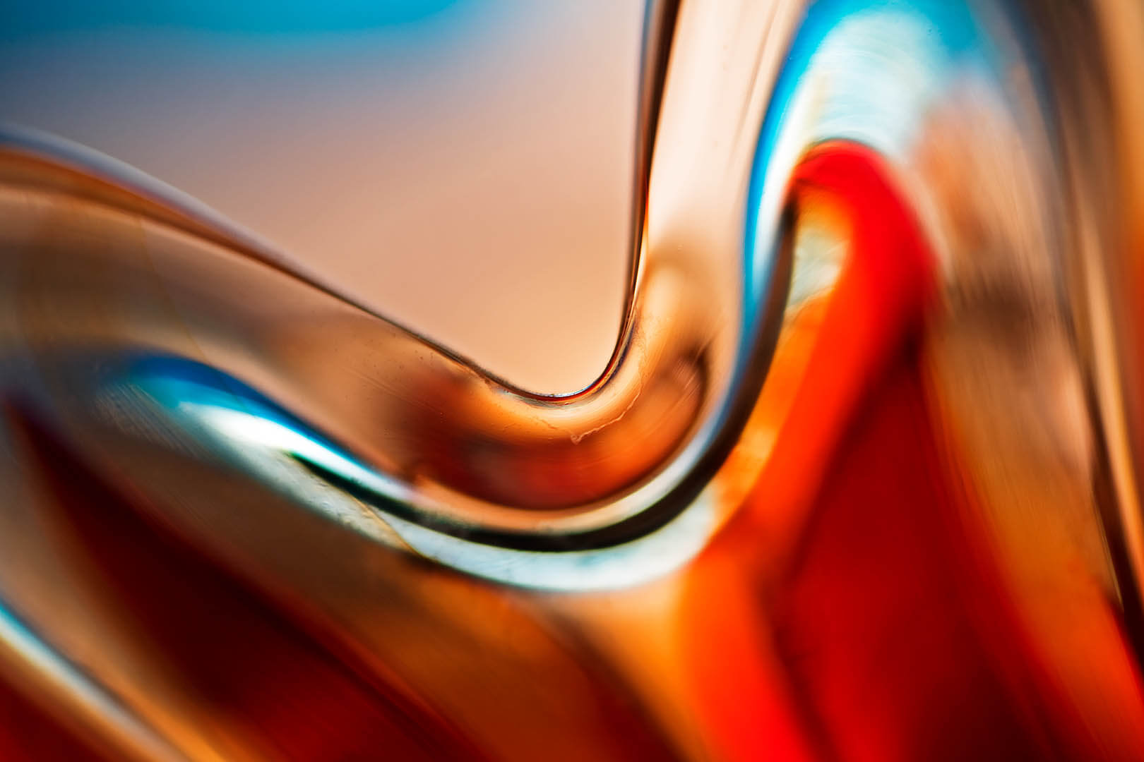 Blue and Red Glass Abstract