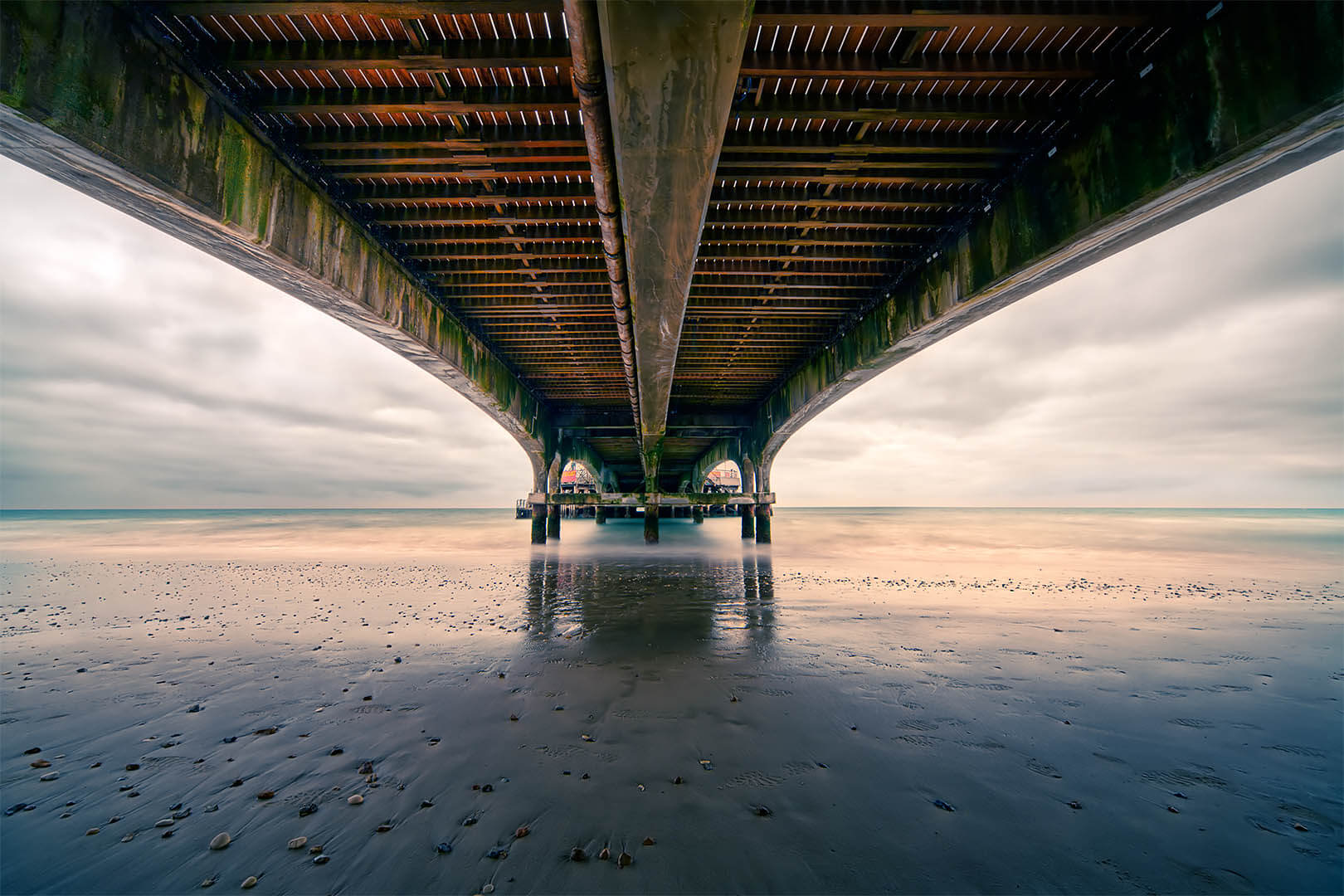 Underneath Bournemouth Pier (in colour)